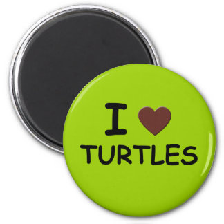 I HEART TURTLES 2 INCH ROUND MAGNET