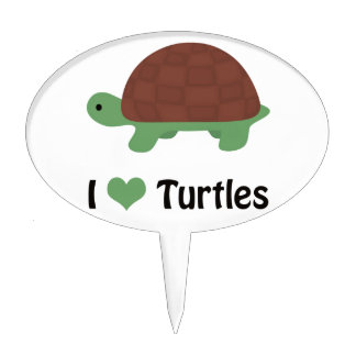 I heart turtles cake toppers