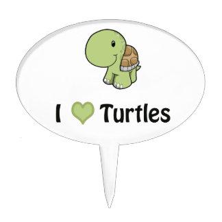 I heart turtles cake pick