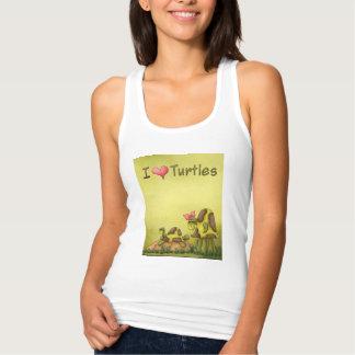 I Heart Turtles Do Not Disturb Green Yellow Tank Top