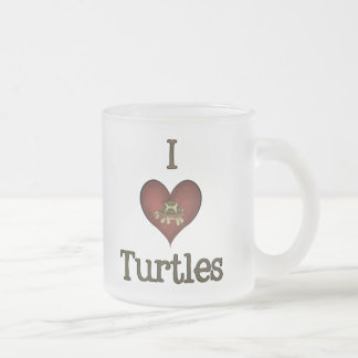 I Heart Turtles Frosted Glass Coffee Mug