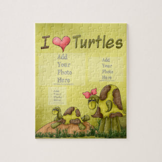 I Heart Turtles Moss Green Neutral Animal Children Jigsaw Puzzle