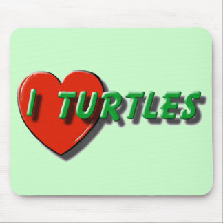 I Heart Turtles Mouse Pad