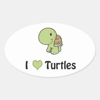 I heart turtles oval sticker