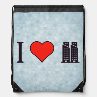 I Heart Twin Towers Drawstring Bag
