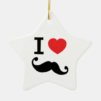 I heart twirly Moustache Ceramic Ornament