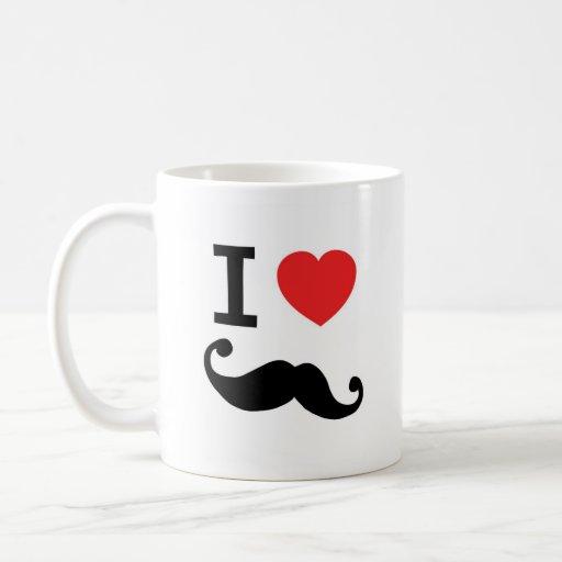I heart twirly Moustache Coffee Mugs