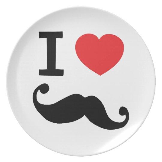 I heart twirly Moustache Dinner Plate
