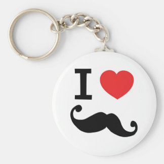 I heart twirly Moustache Keychain
