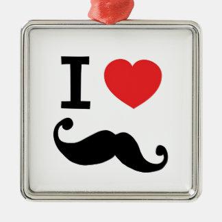 I heart twirly Moustache Metal Ornament
