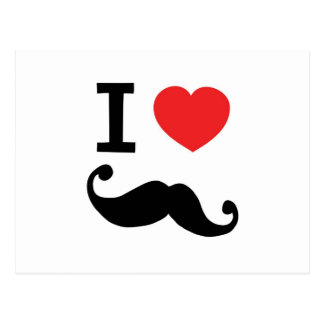 I heart twirly Moustache Postcard