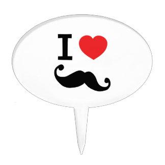 I heart twirly mustache cake pick