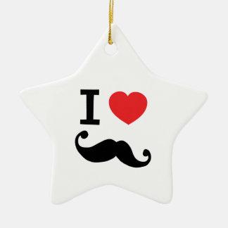 I heart twirly mustache ceramic ornament