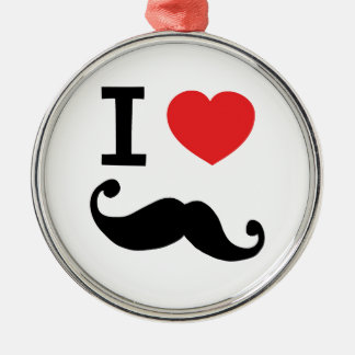 I heart twirly mustache metal ornament