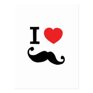 I heart twirly mustache postcards