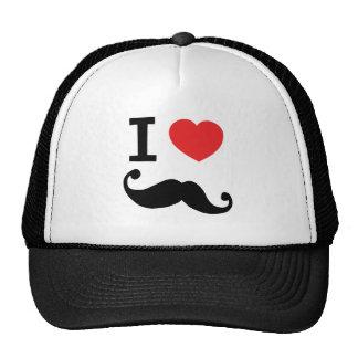 I heart twirly mustache trucker hat