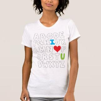 I heart U alphabet Tshirts