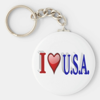 I Heart U.S.A. 3D Key Chains, Red & Blue