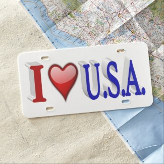 I Heart U.S.A. 3D License Plate, Red & Blue