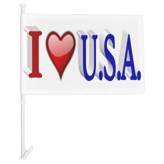 I Heart U.S.A 3D Patriotic Car Flags