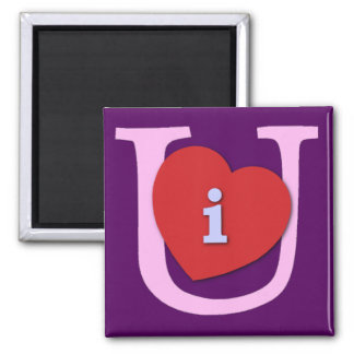 I Heart U Valentine's Day 2 Inch Square Magnet