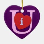 I Heart U Valentine's Day Christmas Ornament