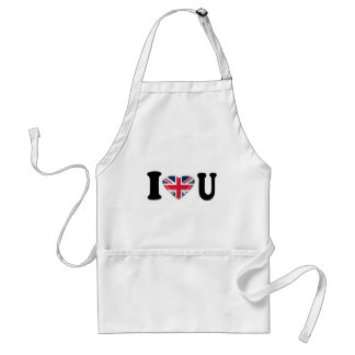 I Heart U with Union Jack Heart Design Standard Apron