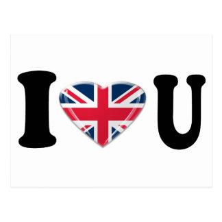 I Heart U with Union Jack Heart Design Postcard
