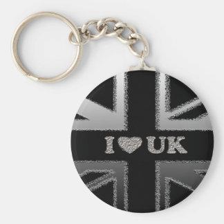 I Heart UK Black and Silver Union Jack Flag Keychain
