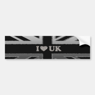 I Heart UK Union Jack Black and Silver Flag Gifts Bumper Sticker