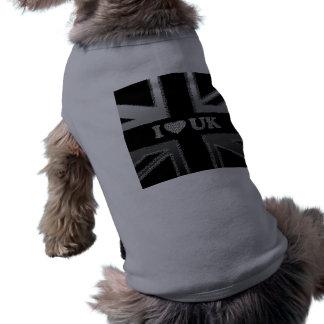 I Heart UK Union Jack Black and Silver Flag Gifts Shirt