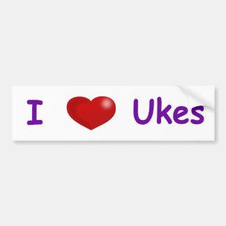 I (Heart) Ukes Car Bumper Sticker