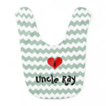 i heart uncle gray jade chevron personalized bib