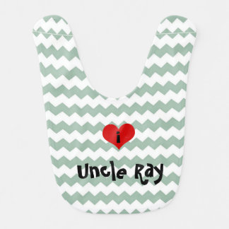 i heart uncle gray jade chevron personalized bib
