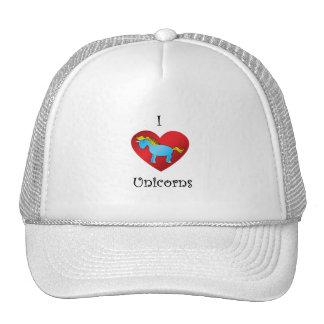 I heart unicorn in blue mesh hats