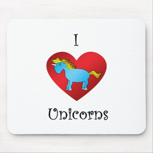 I heart unicorn in blue mouse pad
