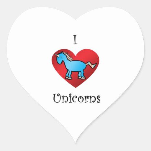 I heart unicorns in blue heart sticker