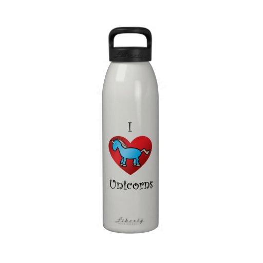 I heart unicorns in blue reusable water bottles