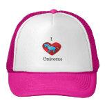 I heart unicorns in blue trucker hats