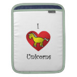 I heart unicorns in gold and rainbow sleeves for iPads