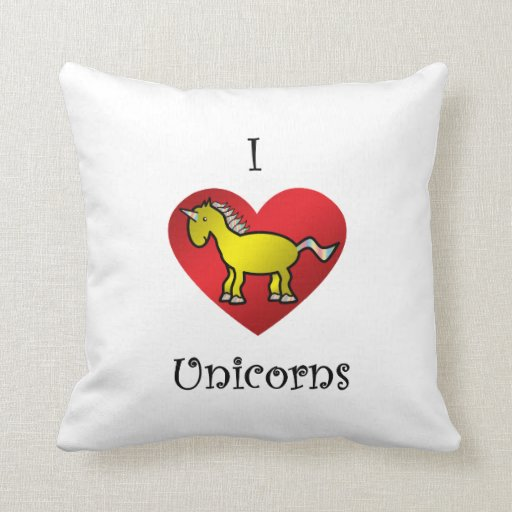 I heart unicorns in gold and rainbow throw pillows