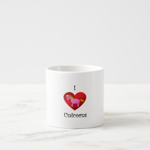 I heart unicorns in pink and gold espresso cup