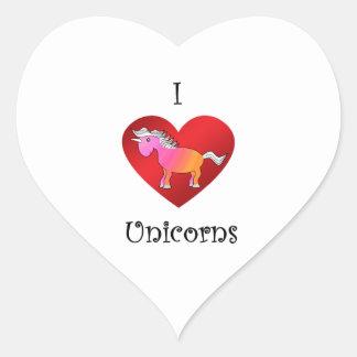 I heart unicorns in pink and orange heart stickers