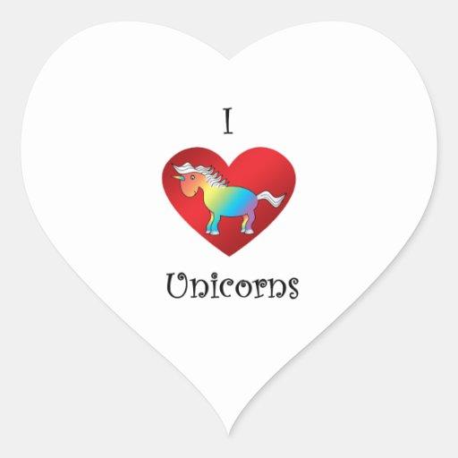 I heart unicorns in rainbow and white heart sticker