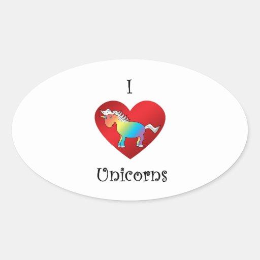 I heart unicorns in rainbow and white oval sticker