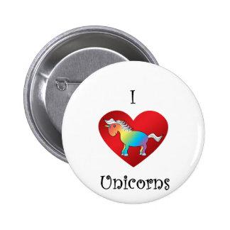 I heart unicorns in rainbow and white pinback button