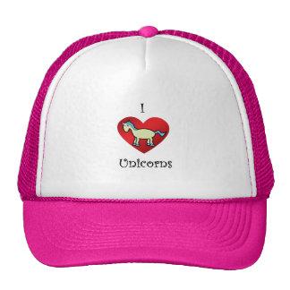 I heart unicorns in yellow blue argyle trucker hats
