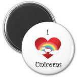 I heart unicorns on heart rainbow and clouds refrigerator magnet