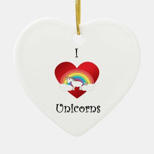 I heart unicorns on heart rainbow and clouds christmas ornaments