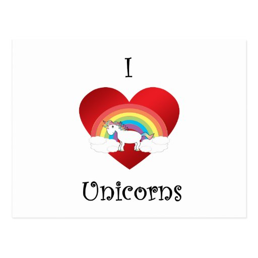 I heart unicorns on heart rainbow and clouds post cards